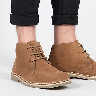 Roamers Leonard Mens Square Toe Suede Cuir Desert Boots Sable