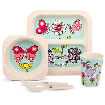 Tyrrell Katz Secret Garden Design 5pc Bamboo Dinner Set For Children