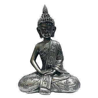 Buda Sentado Preto / Prata H22