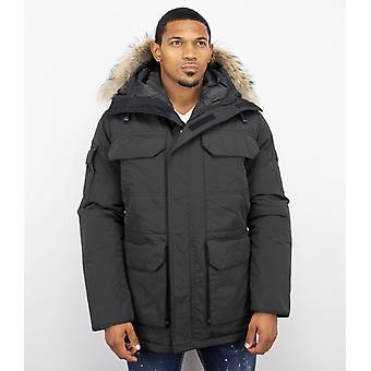 Parka Jacket Men – With Fur Collar – Black