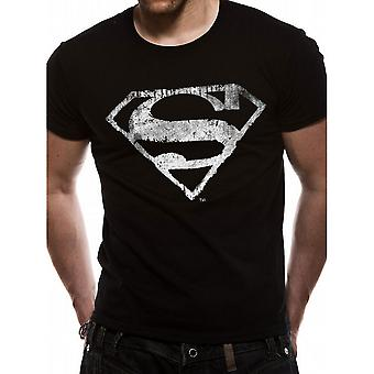 Superman Adults Unisex Adults Logo Mono Distressed Premium T-Shirt