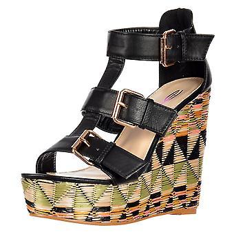 Dolcis Raffia Print Wedge Summer Sandal - Triple Buckle - Pink, Black