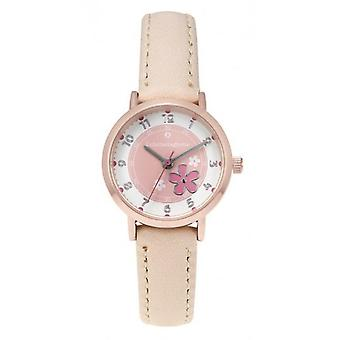 Children's Watch Lulu Castagnette 38900 - Round case in pink gold m tor White white leather bracelet