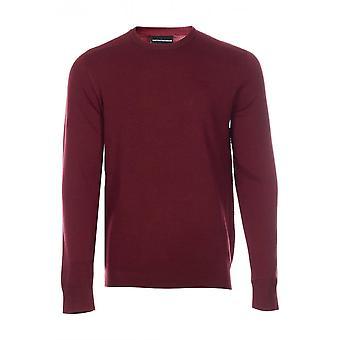 Emporio Armani Round Neck Pullover Burgundy Knitwear Jumper