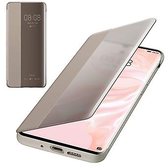Genuine Huawei P30 Pro Smart View Flip Cover Wallet with Sleep Wake Feature - Khaki