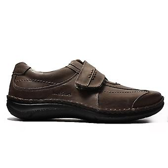 Josef Seibel Alec Brown Leather Mens Rip Tape Casual Shoes