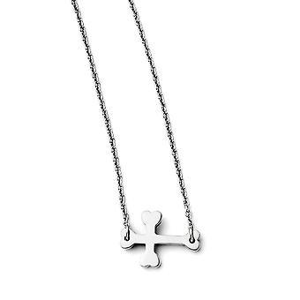 Stainless Steel Fancy Lobster Sluiting gepolijst Zijwaarts religieuze geloof kruis ketting 16,5 inch sieraden geschenken voor vrouwen