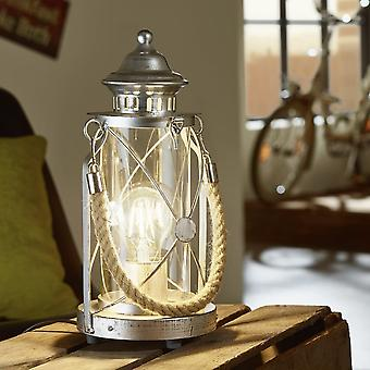 Eglo Bradford Antique Silver Rope Lantern Style Table Lamp