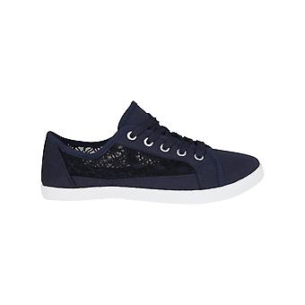 Women Ladies Canvas Plimsolls Lightweight Sneaker Trainers Casual Flat Shoes