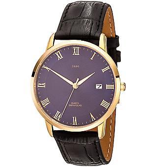 JOBO men's wristwatch quartz analog stainless steel leather strap black date mens watch