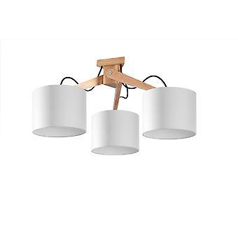 Sollux LEGNO 3 Light Flush Ceiling Light Natural Wood, White SL.0522