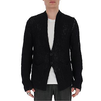 Laneus Cdu304cc2nero Men's Black Cotton Cardigan