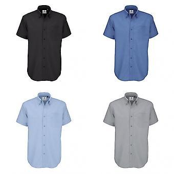 B & C Mens Oxford Kısa Kollu Gömlek / Erkek Gömlek