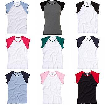 Bella + Tuval Bayan /Bayan Bebek Kaburga Kapağı Kol Kontrast Lı Tişört