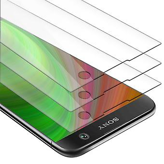Cadorabo 3x Tank Foil for Sony Xperia XA2 - Protective Film in KRISTALL KLAR - 3 Pack Tempered Display Protective Glass in 9H Hardness with 3D Touch Compatibility