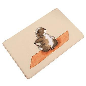 Non-slip animal print flannel bath mat