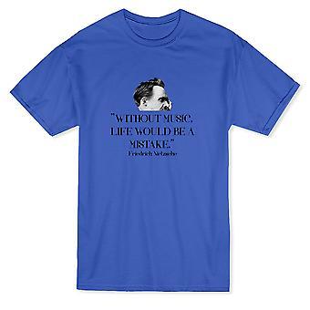 「音楽がなければ生活は間違いだろう」ニーチェを引用メンズ t シャツ