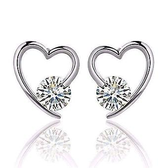 Boucles d'oreilles autrichiennes en cristal en forme de coeur