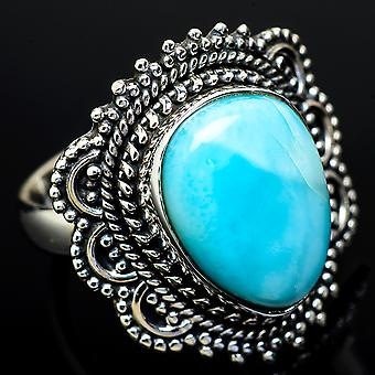 Larimar Ring Size 7.25 (925 Sterling Silver)  - Handmade Boho Vintage Jewelry RING11826