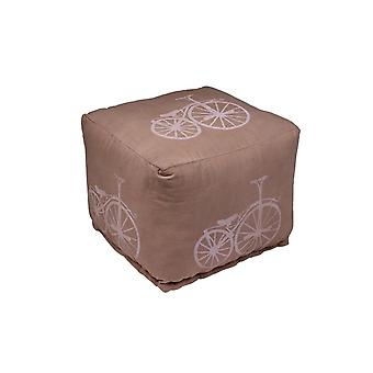 Pouf Bicycle Color Beige in Tessuto 45x45x40 cm