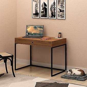 Ramirez Desk Color Oak, Zwart in Melaminic Chip, Metaal, L100xP60xA75 cm