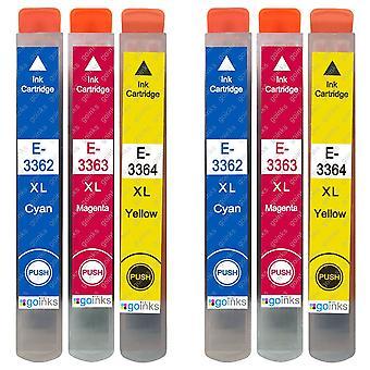 2 Conjunto de 3 cartuchos de tinta para substituir Epson T3357 (Série 33XL) C/M/Y Compatível/não-OEM de Go Inks (6 tintas)