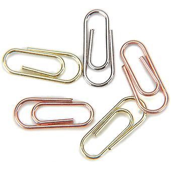 "Mini Metal Paper Clips .5""X.25"" 25/Pkg-Silver, Copper & Brass"