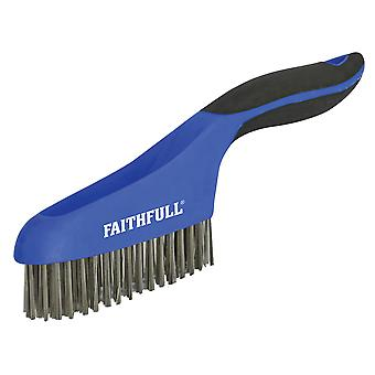 Faithfull Scratch Brush Soft Grip 4 x 16 řad nerezový FAISB164SS