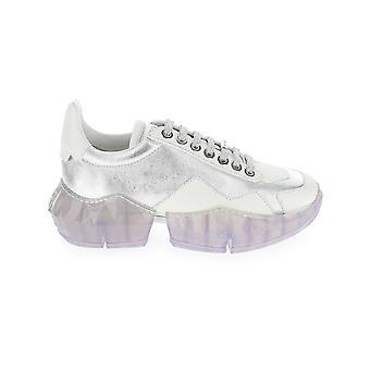 Jimmy Choo Diamondflakxsilverwhite Women's White Leather Sneakers
