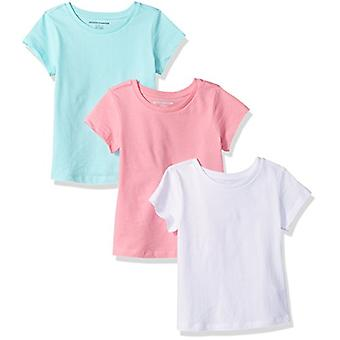 Essentials Girls' 3-Pack Short-Sleeve Tee, Pink/Aqua/White, M (8)