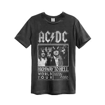 AC/DC T Shirt Highway To Hell Poster Official Mens Amplified Vintage Charcoal