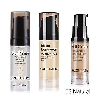 Professional Makeup Set Face Base Primer + Matte Foundation + Concealer Full Cover Make Up Oil-control Cosmetic