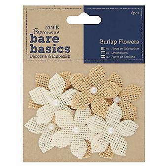 Papermania Bare Basics Burlap Flowers (8pcs) (PMA 174866)