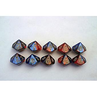 Chessex Gemini 10 x D10 Dice Set - Blue-Red/gold