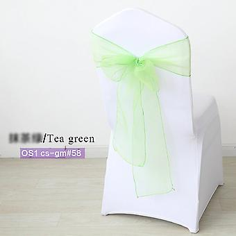 Organza Fabric Wedding Chair Knot Sashes Cover Bow Band Belt For Wedding