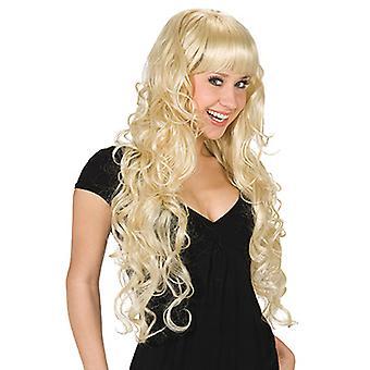 Boucles blonds longue perruque accessoire sexy sorcière Halloween Carnaval