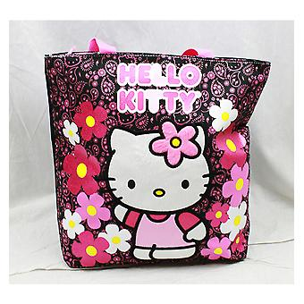 Tote Bag - Hello Kitty - Flowers Black Girls Hand Purse 82597