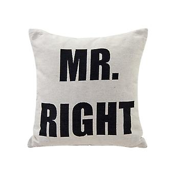 AK4245C, Mr. Right White Cotton Jacquard Printed Decorative Toss Throw Accent Pillow by Danya B.