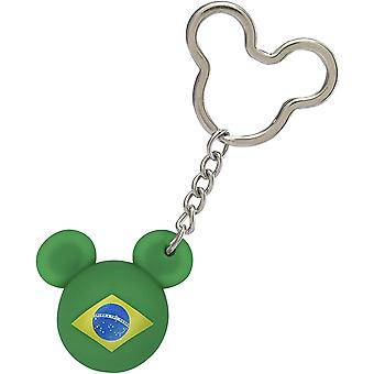 Key Chain - Mickey Mouse - Icon Ball Brazil Flag