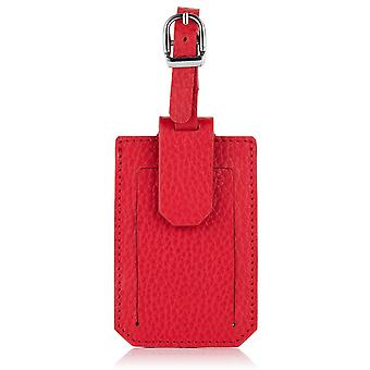 Poppy Red Richmond Luxury Leather Luggage Tag