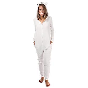 Women's Brave Soul Polar Bear Onesie en blanc