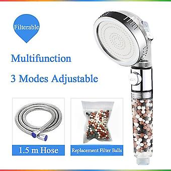 Bathroom 3-function Spa Shower Head With Switch On/off Button High Pressure