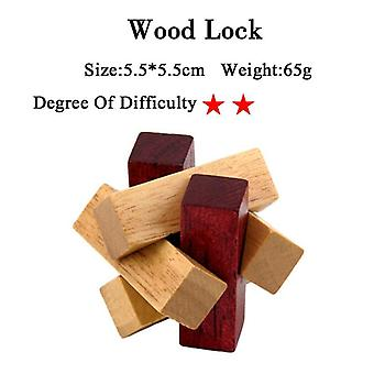 Iq Brain Teaser Kong Ming Lock Lu Ban 3d Wooden Interlocking Burr Puzzles Game Toy For Adults Kids