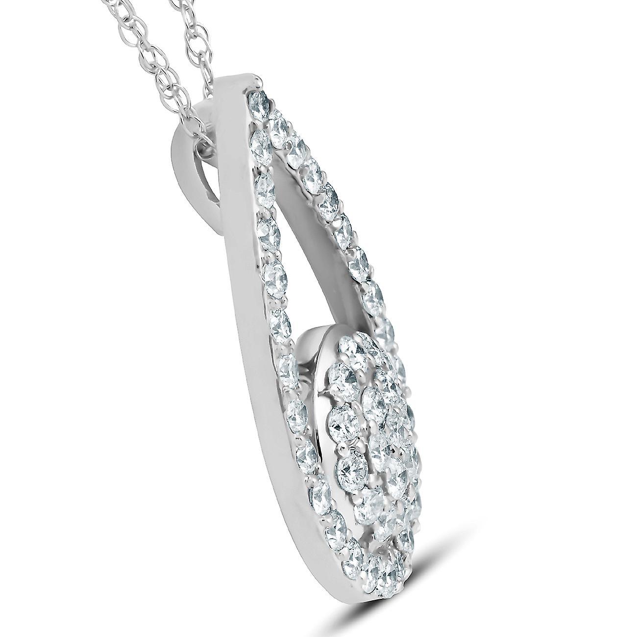 "1 1/10Ct Diamond Circle Pear Shape Pendant White Gold 1"" Tall"