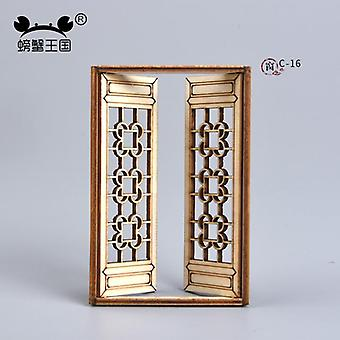Dollhouse Mini Furniture Miniature Accessories Chinese Style Wooden Movable Assembly Window Building Model Material