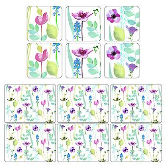 Pimpernel Water Garden Placemats and Coasters White Set of 6