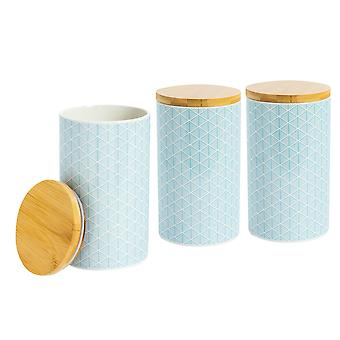 3 Piece Geometric Patterned Tea Coffee Sugar Canister Set - Small Porcelain Kitchen Storage - Electric Blue - 10cm