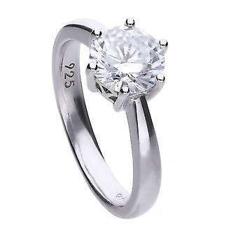 Diamonfire hopea valkoinen Zirkonia Solitaire Ring R3622