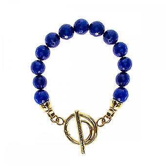 Nikki Lissoni Faceted blauwe Jade goud vergulde kralen armband