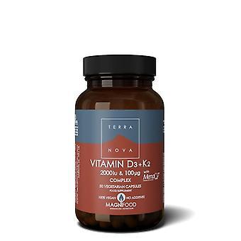 Terranova vitamine D3 2000iu met K2 100ug capsules 50 (T0615)